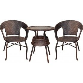 SET TAVOLO CON 2 POLTRONE IN RATTAN
